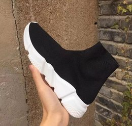 Wholesale Mens Shoes Dhl - 2018 New Men Women Unisex Shoes Paris Famous Brand Speed Trainer Black White Top Quality Sneakers Mens Sock Shoes With Box Free DHL