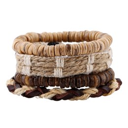 Wholesale Mens Woven Leather Bracelets - Handmade DIY Hemp Rope Weave Bracelet Set with Coconut Bead Mens Leather Bracelet