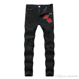 rock lights Coupons - New Men's Embroidered Roses Denim Black Hole Pants Slim Stretch Pants Causal Denim Pants Streetwear Style Runway Rock Star Jeans Cool