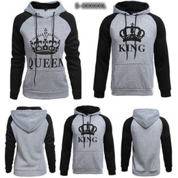 Wholesale Couple Outfit Clothing - Couple's Clothes Casual Letter Printed King Queen Hooded Outfits Fashion Couple Long Sleeve Match Hoodies Adult Lover's Pullover Sweatshirt