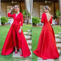 Krikor Jabotian élégante robe de soirée rouge Jumpsuit avec détachable train V cou dos nu robes de soirée manches longues robe de soirée robes de bal ? partir de fabricateur