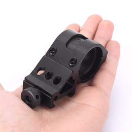 Wholesale rail mounted flashlight - Outdoor 45 Degress 25mm Tactical Offset Ring Rifle Flashlight Torch Laser Mount Rail 20mm Weaver Hunting Accessories