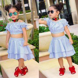 Wholesale Short Pleated Plaid Skirt - Clothing Sets ins summer children's clothes suit Kids Girls blue plaid bowknot blouse pleated cake skirt suit 1905