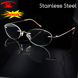 caf1b43a720 Luxury Rimless Oval Stainless Steel Eyeglasses Frame Women Brand Designer  Myopia Clear Glasses Prescription Eyewear