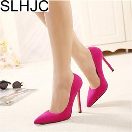 4cbe17a59d3 wholesale Classic 12 cm High Stiletto Heels Pumps Shoes Women Pointed Toe  Slip On Fashion Party Wedding Office Shoes Plus Size 42-35