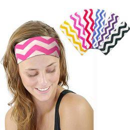 Wholesale Sports Yoga Headbands - Wave Stripe Headband Sports Elastic Hairband Outdoor Gym Running Yoga Sport Headband Elastic Hair Bands 300pcs LJJO4485
