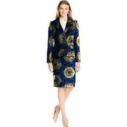 Wholesale Purple Tailored Jacket - African Print Skirt Suits Women Suit+Skirt Two Pieces Festive Ladies Fashion Suit Jacket Tailored Festive Costume Clothing