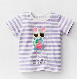 Wholesale Mouse Boys - 2018 NEW ARRIVAL girl Kids 100% Cotton Short Sleeve stripped little mouse print T shirt girls causal summer t shirt