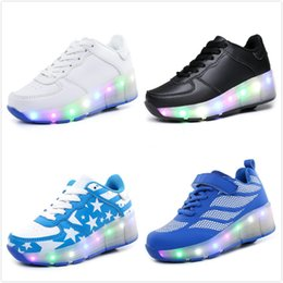 Wholesale Led Skate Wheels - Children Glowing Sneakers Kids Roller Skate Shoes with Wheel Automatic Led Light up Glowing Shoes Jazzy Junior Girl Boys zapatillas hombre