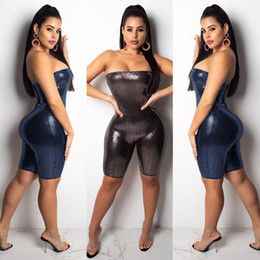 250914a8fca Strapless Bling Sequins Skinny Sexy Playsuit Women Off Shoulder Casual  Overalls Bodycon Shorts Jumpsuit 2018 Woman Backless Shorts Rompers
