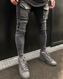 Wholesale Leather Mens Pants - Fashion brand 2018 Designer Mens Ripped Biker Jeans Leather Patchwork Slim Fit Black Moto Denim Joggers For Male Distressed Jeans Pants