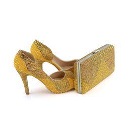 2019 bolso de los zapatos de la boda del rhinestone del oro  bolso de los zapatos de la boda del rhinestone del oro baratos