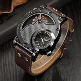 Relógios oulm on-line-Oulm Designer de Marca de Luxo Relógios Para Homens Dupla Hora de Quartzo-relógio Ocasional Relógio Homem Esporte Masculino Relógio relogio masculino