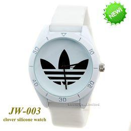 Wholesale Ladies Clover Watch - AD Clover 3 Leaf Grass Ladies Dress Quartz Watches, Female Males Sports Casual Wristwatch Brand silicone watch