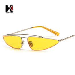 Wholesale online celebrities - SHAUNA 2018 Popular INS Instant Online Celebrities Women Small Cat Eye Sunglasses Fashion Ladies Candy Colors Lens Shades UV400