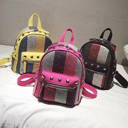 zaino coreano di svago di modo Sconti Le più nuove ragazze Diamond Rivet Stripe Canvas Backpack Mini Travel Leisure Small zaini Moda donna Borse a tracolla stile coreano