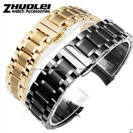 Argentina Alta calidad negro | oro Flat end | curved end acero inoxidable pulsera hombres 18 mm 19 mm 20 mm 22 mm envío gratis supplier 22mm curved end stainless steel Suministro