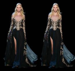 Ювелирное искусство онлайн-2018 Elie Saab арт-деко Пром платья Jewel кружева аппликации иллюзия передняя Сплит пояса черный Vestidos де Фиеста с длинным рукавом вечерние платья