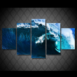 olas paisajes pinturas Rebajas Home Decoration Print Abstract Wall Artwork HD Framework 5 Panel Rolling Wave Landscape Lienzos Cuadros Modernos Modulares