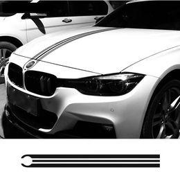 Cubiertas del capó del coche online-Car Hood Bonnet Racing Stripes Lines Calcomanías Motor cubierta pegatinas para BMW e46 e36 e90 f30 f31 f34 e39 e60 f10 f11 f07 g30