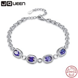 sterling silver tanzanite bracelet Coupons - JQUEEN Chain Link Bracelet 5MM*7MM Blue Tanzanite 925 Sterling Silver Bracelets Heart Bracelet for Women with Gift Box