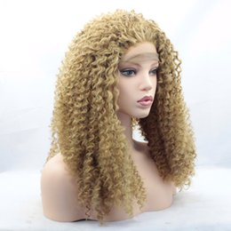 Wholesale Medium Blonde Curly Wig - Blonde Afro Kinky Curly Wig Middle Part Afro Curly Synthetic Hair Front Lace Wigs For Women Medium Length Heat Resistant Hair(Blonde)