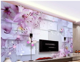 sfondi rosa farfalla Sconti Pink Lily Dream Flower Farfalla Love Flower Elegante sfondo romantico carta da parati per pareti arredamento