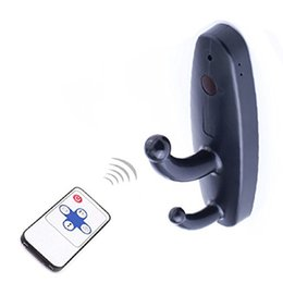 Wholesale Spy Hook Hidden Mini Camera - Mini Spy Hidden Remote Control Camera Clothes Hook Video Recorder Motion Activated Security DVR Camcorder Black