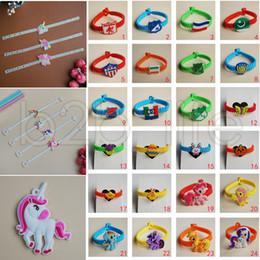 Wholesale wristband pvc - 72 Styles Kids PVC Bracelets Wristband Unicorn Animals Emoji Flag Pattern Bracelet Birthday Party Favors Children Toy Jewelry AAA556