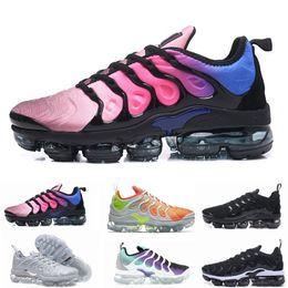 Wholesale tn sneakers - 2018 Vapormax TN Plus Olive Mens Womens Sports Running Shoes Women Sneakers Metallic White Silver Colorful Triple Black Shoe size 36-46