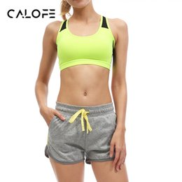 Wholesale Tennis Suits Girls - Wholesale- CALOFE Patchwork Women Yoga Sets Bra Shorts Fitness Sets Fixed strap Gym Sports Running Tennis Girls Leggings Tops Sport Suit