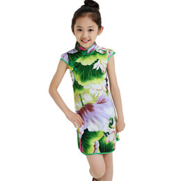 Wholesale Chinese Traditional Style Dress - Chinese Style Traditional Dress Vintage Floral Pattern Girls Dresses Cheongsam Wedding Party Costume Summer Children Clothing 3-14Y