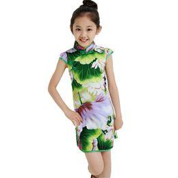 ropa de la vendimia china Rebajas Vestido tradicional del estilo chino del estampado de flores de la vendimia Vestidos de las muchachas Cheongsam Wedding Party Costume ropa de los niños del verano 3-14Y