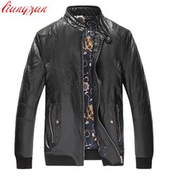 Wholesale Trench Coat Big Man - Men PU Leather Jackets Brand Winter Snow Warm Thick Jacket And Coats Male Slim Fit Big Size Motorcycle Trench Coats F2359