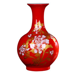 Wholesale Peony Crafts - Jingdezhen ceramics Modern China red peony vases, flower receptacle Household decoration crafts are sitting room