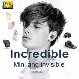 Wholesale Hidden Bluetooth Earphones - X11 Small Wireless Bluetooth Earphone USB Magnet Invisible hidden headphone in ear earpiece Handsfree with Mic for smartphone