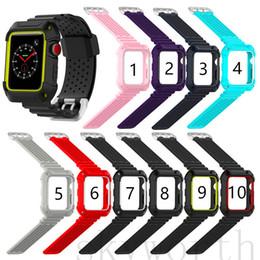 Мода Спорт дышащий силиконовый ремешок для яблока ремешок для часов с двойной рамкой цвета Смарт-браслет замена 38MM 42MM полосы iwatch от Поставщики apple умный смотреть iwatch ремешок