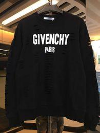 Wholesale t shirt street wear - 18ss GIV Summer Street wear Europe Paris Fan Made Fashion Men High Quality Broken Hole Cotton Tshirt Casual Women Tee T-shirt 3XL