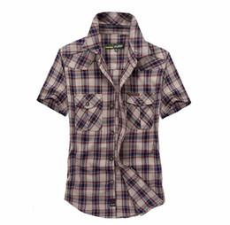 Wholesale big breast size - European Style Obesity Casual Shirts Men Summer High Quality 100% Cotton Plaid Loose Short Sleeve Shirts Man Khaki Tops Big Size M-3XL