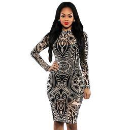 Wholesale Long Sleeve Bandage Dress Mesh - 2018 New Fashion Clubwear Dresses Sleeveless Sexy Mesh Sheer Bandage Dress Digital Printing Skirt Sexy Slim Package Hip Bodysuit Party dress