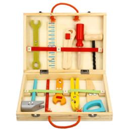 Livraison gratuite Nouveaux enfants en bois bricolage Puzzle simulation de dessin animé Multifonction Woodworking Toolbox Jouer maison démontage jouets ? partir de fabricateur