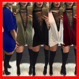 Wholesale Chiffon Short Sleeve Maxi Dress - Sexy Summer Women Dress 2018 Solid Casual Deep V-neck Short Sleeve Bandage Dresses Maxi Loose Dress Splice ties