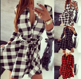 Wholesale Ladies Blouses Wholesalers - Fashion Women Grid Shirt Long Sleeve Plaid Check Lady Blouse Bodycon Top Shirt Top Loose Long sleeve Shirt dress LJJK880
