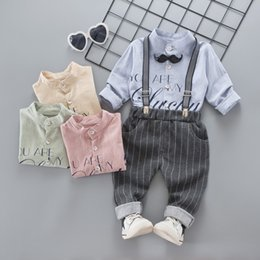 Wholesale Baby Boy Suspender Trousers - 2018 Spring new Baby Boy Clothing Boys Suits shirt +suspender trousers 2pcs Children Outfit Toddler Clothes baby sets 1-3 year A1553