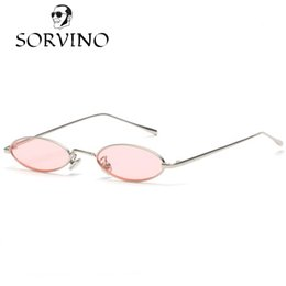 SORVINO 2018 Vintage 90S Small Slim Oval Sunglasses Mujeres Hombres Retro Female Wire Metal Frame Pink Red Yellow Skinny Narrow Sun Glasses Shades desde fabricantes