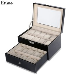 Wholesale Square Storage Case - FANALA 20 Grid Slots Jewelry organizer Watches Boxes Display Storage Box Case Leather Square jewelry