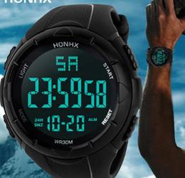 Спортивные силиконовые наручные часы водонепроницаемые онлайн-Роскошные спортивные часы мужчины цифровой Силиконовой моды Спорт светодиодные водонепроницаемые наручные часы мужчины Masculino для подарков