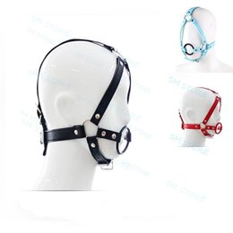 Wholesale head harness ring - Faux Leather Rubber 42mm O Ring Open Mouth Gag Head Harness Mask #T78