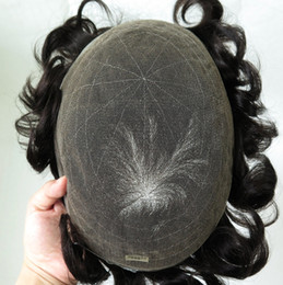 Wholesale human hair toupee for men - European Human Remy Virgin Full Lace Men Toupee Hair Replacement System for Men French Lace Hairpieces Toupee #1B