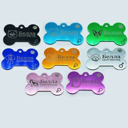 Wholesale laser pet tags - 2pcs pet Tags Personalized Pet Tags Customized dog ID for dog and cat Free Laser Engraving ID Aluminium
